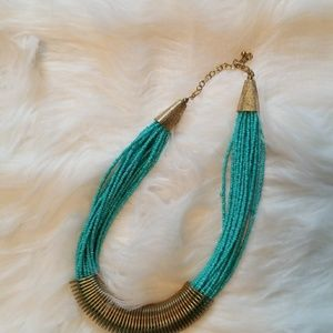 Teal bead stranded brass/Gold statement necklace